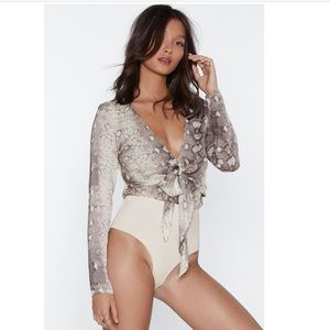 Nasty Gal Life's What You Snake It Bodysuit 6 NWOT